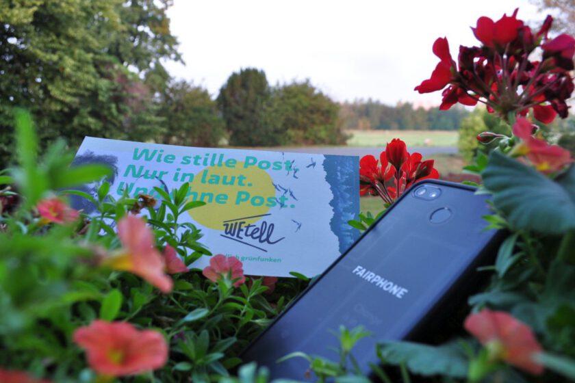 WEtell-Flyer und Fairphone im Blumenkasten